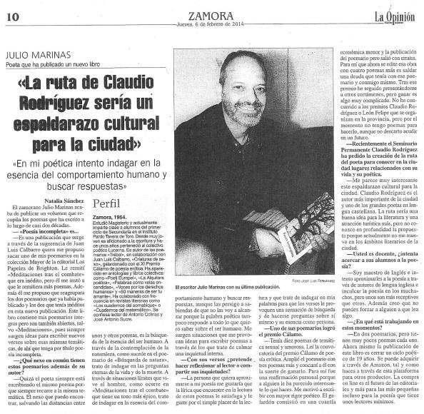 Entrevista a Julio Marinas en 'La Opinión de Zamora'