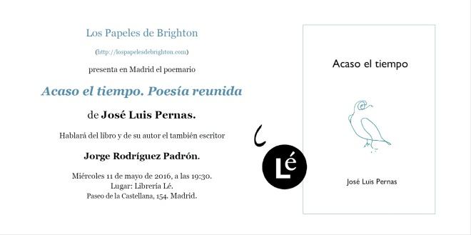 Tarjeta de presentación de 'Acaso el tiempo', de José Luis Pernas