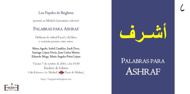 Tarjeta de invitación a la presentación de 'Palabras para Ashraf'